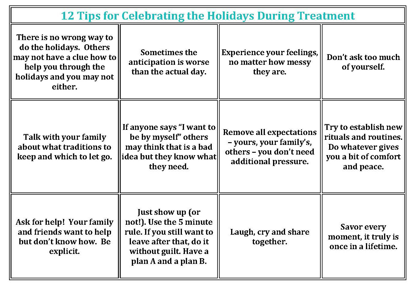 12 Tips for Celebrating the Holidays During Treatment